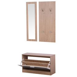HOMCOM 3 EM 1 Conjunto de Móveis de Entrada Corredor Conjunto de 3 peças Cabide Espelho Zapatero madeira