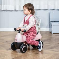 HOMCOM Andador para bebés acima de 18 meses tipo quadriciclo com 4 Rodas e Guidão 54x26x38cm Rosa Preto