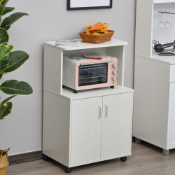 HOMCOM Aparador Auxiliar para Microondas Armário de Cozinha Baixo com Armário de 2 Portas e Prateleira Ajustável com Rodas Carga 70 kg 60,4x40,3x97 cm Branco