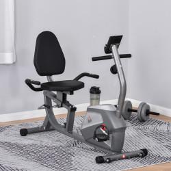 HOMCOM Bicicleta ergométrica reclinável com tela LCD e volante de 3 kg resistência magnética de 8 níveis assento ajustável 121,5-136x62,5x98 cm cinza