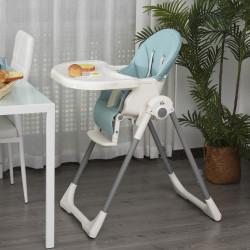 HOMCOM Cadeira de refeição ajustável e dobrável para bebê acima de 6 meses com bandeja dupla 55x80x104 cm azul