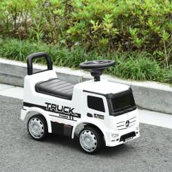 HOMCOM Carro Andador Mercedes para Crianças acima de 12 Meses com Buzina Faróis Compartimento de Armazenamento Encosto e Proteção Anti-Rolamento 62,5x28,5x45cm Branco e Preto