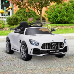HOMCOM Carro elétrico infantilacima de 3 anos Mercedes GTR licenciado bateria de 12V com controle remoto Faróis musica Porta de abertura dupla Carga 25kg 105x58x45 cm Branco