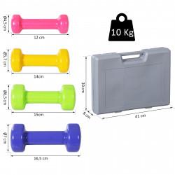 HOMCOM Conjunto de 8 halteres 4 pares de 0,5 kg 1 kg 1,5 kg 2 kg com caixa exterior para ginásio e treino resistentes ao suor e humidade