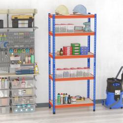 HOMCOM Estante Metálica de Armazenamento 80x40x182cm com 5 Prateleiras Altura Ajustável Carga Máxima por Prateleira 300kg para Armazenamento Garagem Oficina Azul e Laranja