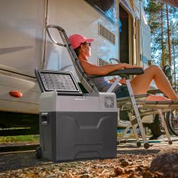 HOMCOM Geladeira elétrica portátil 50L com compressor Mini geladeira para carro com tela de toque e alça 12 / 24V CC ou 110V-240V CA para casa 58,6x37,8x54,5 cm Cinza