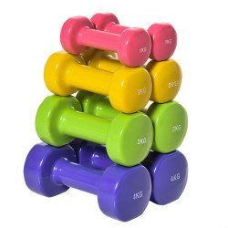 HOMCOM Jogo de 8 Halteres Hexagonais 4 Pares 4kg 3kg 2kg 1kg com Revestimento Pesos para Exercícios em Casa Academia Aço Multicolor
