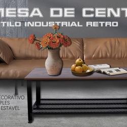 HOMCOM Mesa de centro Mesa auxiliar multifuncional Estilo industrial retro em Aço e Madeira 106x60x45cm