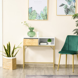 HOMCOM Mesa de console com gaveta e prateleira aberta Estilo moderno Móveis de Corredor para corredor Sala de estar 80x30x80,5 cm Ouro branco