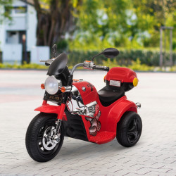 HOMCOM Motocicleta Elétrica Infantil para crianças acima de 3 anos com 3 rodas Buzina Música Faróis 87x46x54 Vermelho