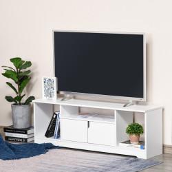 """HOMCOM Móvel de TV para Televisores de até 42"""" Móvel de Sala de Estar Moderno com Armário de Dupla Porta e 3 Compartimentos Abertos 120x30x41cm Branco"""