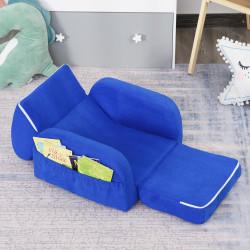 HOMCOM Poltrona 2 em 1 dobrável com assento acolchoado para crianças acima de 3 anos Azul