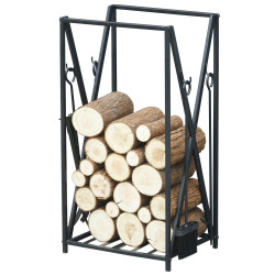 HOMCOM Prateleira para lenha com 4 ferramentas Carga 100 kg Aço 46x30x76 cm Preto
