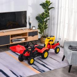 HOMCOM Trator de pedais para crianças acima de 3 anos com reboque e pá frontal 179x42x59 cm Vermelho
