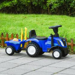 HOMCOM Trator para Crianças de 12-36 Meses com Reboque Removível Carro Andador com Buzina Farol Pá e Ancinho Carga 25kg 91x29x44cm Azul