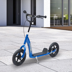 HOMCOM Trotinete para Crianças acima de 5 anos Scooter de 2 Rodas Grandes de 12 Polegadas com Freio e Guidão Ajustável em Altura Carga Máx. 100kg 120x52x80-88cm Azul