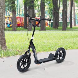 HOMCOM Trotinete para Crianças acima de 5 anos Scooter de 2 Rodas Grandes de 12 Polegadas com Freio e Guidão Ajustável em Altura Carga Máx. 100kg 120x52x80-88cm Preto