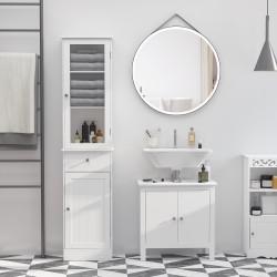 Kleankin Armário Alto para Casa de Banho Móvel Auxiliar de Banheiro de Estilo Moderno com 2 Portas Prateleiras Ajustáveis e 1 Gaveta 40x27x171,5cm Branco