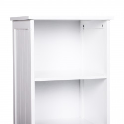 kleankin Armário de banheiro branco 5 níveis Prateleiras Coluna do banheiro com 3 prateleiras 1 porta de MDF e resistente à água 40x38x160cm