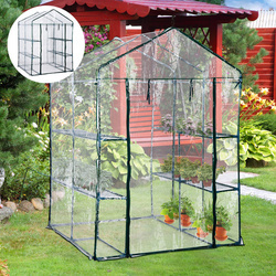 Outsunny® Estufa Transparente de jardim Viveiro Caseiro Platas com 3 Andares 143x143x195cm
