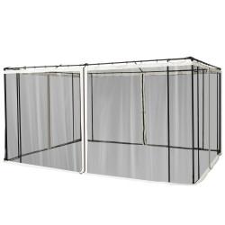 Outsunny 4 painéis laterais 335x207 cm para tenda de jardimmosquiteira para gazebo com zíperes e anéis preto
