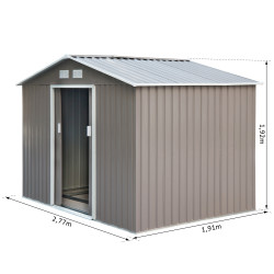 Outsunny Abrigo - Barracão de Jardim Tipo Armário de Metal para Guardar Ferramentas 277x191x192cm Aço Cinzento