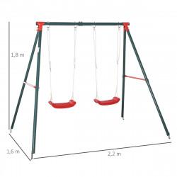 Outsunny Balanço duplo para crianças acima de 3 anos com suporte de metal coml Corda ajustável ao ar livre máx. 40kg 220x160x180cm Verde Vermelho