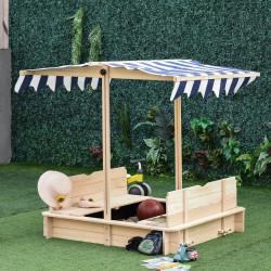 Outsunny Caixa de areia de madeira para crianças acima de 3 anos com banco telhado toldo ajustável removível 106x106x121 cm Carga 150 kg Cor de madeira natural