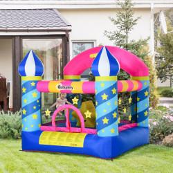 Outsunny Castelo inflável para crianças de Estrelas com cama de salto Cesta Inflador e bolsa para interior e exterior 300x275x210 cm Multicolor