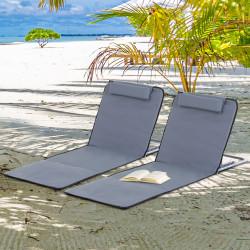 Outsunny Conjunto de 2 esteiras de praia com encosto reclinável em 5 níveis, bolsa de transporte e apoio de cabeça 48x134x36-45 cm cinza
