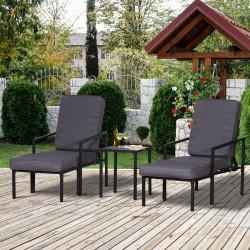 Outsunny Conjunto de móveis de terraço 2 cadeiras 1 mesa e 2 apoios para pés