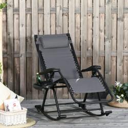 Outsunny Espreguiçadeira de balanço de jardim dobrável reclinável com toldo de proteção solar Estrutura de aço 120x67x102 cm Cinza