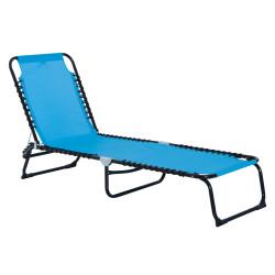 Outsunny Espreguiçadeira de jardim dobrável e ajustável com 3 posições sistema de laço Estrutura de Aço 197x58x76 cm azul claro