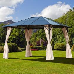 Outsunny Gazebo de jardim 3,65x3 m Pavilhão de aço com telhado de policarbonato de 6 mm Proteção UV 50+ e 4 cortinas laterais Bege