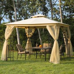 Outsunny Pérgola ao ar livre com rede mosquiteira para jardim terraço com espigões de solo poliéster aço 300x300x265 cm bege