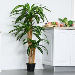 Outsunny Planta Artificial Decorativa Dracaena com Pote Árvore Sintética 66 Folhas Ø20x160 cm Verde