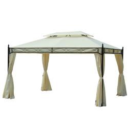 Outsunny tenda branca 3x4m pavilhão gazebo de jardim com cortinas brancas aço e poliester