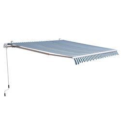 Outsunny Toldo Manual Dobrável de Alumínio para Exterior com Ângulo Ajustável e Manivela para Pátio Balcão Jardím Terraço - 2.95x2.5m