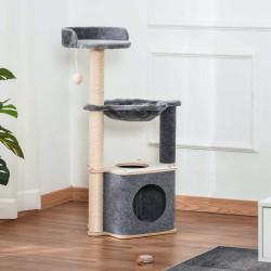 PawHut Árvore Arranhador para Gatos Árvore para Escalar Brincar e Descansar com Rede Plataformas Caverna Bola Suspensa e Poste de Sisal para Aranhar 48x34x95cm Cinza