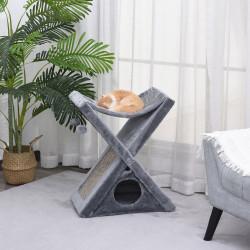 PawHut Árvore Arranhadora para Gatos Dobrável com Caverna Rede Placa Arranhadora Bolas Suspensas para Espaços Pequenos Jogos e Descanso 54,5x32x65cm Cinza