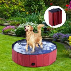 PawHut Banheira para cães Gatos Dobrável Piscina para Animais De Banho Natação Banho Φ100x30cm Cor Vermelho