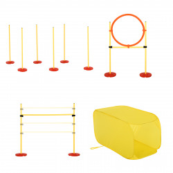 PawHut Conjunto de treinamento para cães com 4 obstáculos ajustáveis com bolsa amarela