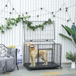 PawHut Gaiola de metal dobrável para cães com rodas e freios Bandeja removível e porta com travas 109,5x71x78 cm Cinza escuro