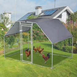 PawHut Galinheiro ao ar livre Gaiola para aves domésticas de metal galvanizado com fechadura e cobertura Oxford 280x190x195cm