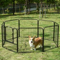 PawHut Parque para animais de estimação com 8 Varas Dobrável com Porta e Dupla Trava 79x79cm Preto