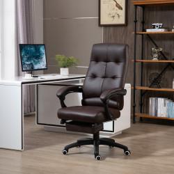 Vinsetto Cadeira de escritório ergonômica giratória com função de inclinação altura ajustável Apoio de braço e apoio para os pés em couro sintético 65x65x114-124 cm marrom