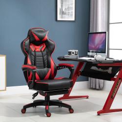Vinsetto Cadeira de escritorio gaming ergonômica Altura Ajustável reclinável com apoio para pés Vermelho e Preto