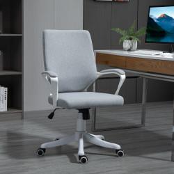 Vinsetto Cadeira de escritório giratória ergonômica com altura ajustável apoio de braço acolchoado e apoio lombar máx. 120 kg 62x69x92-102 cm Cinza