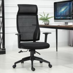 Vinsetto Cadeira ergonômica giratória altura ajustável e reclinável até 120º 64x61x120,9-128,9 cm Preto