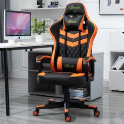 Vinsetto Cadeira gaming para escritório Ergonômico Altura ajustável Reclinável Rotativo laranja